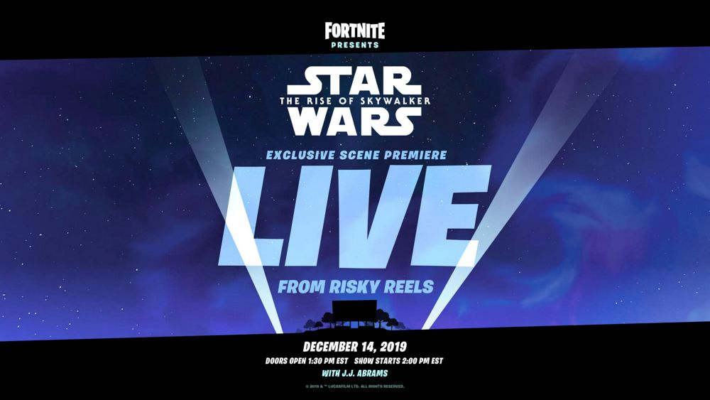 Cartel del evento de Star Wars: El ascenso de Skywalker que está preparando Epic Games a través de Fortnite
